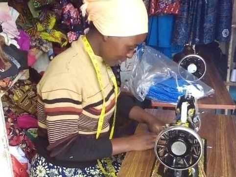 Aloisia sewing face masks for medical staff in Tanzania
