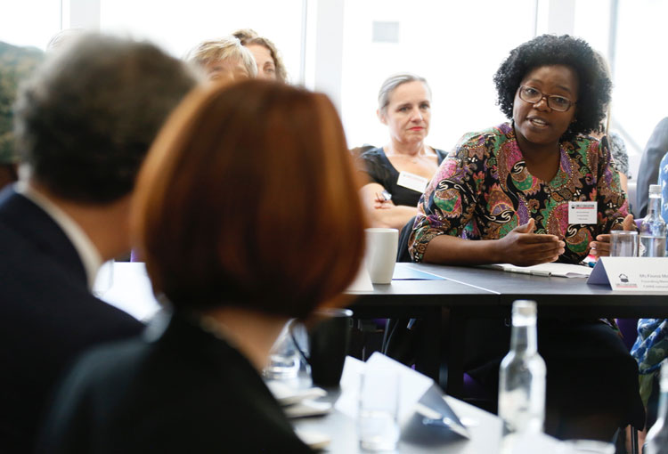 Fiona Mavhinga speaks at a high level policy roundtable at the Girls' Education Forum