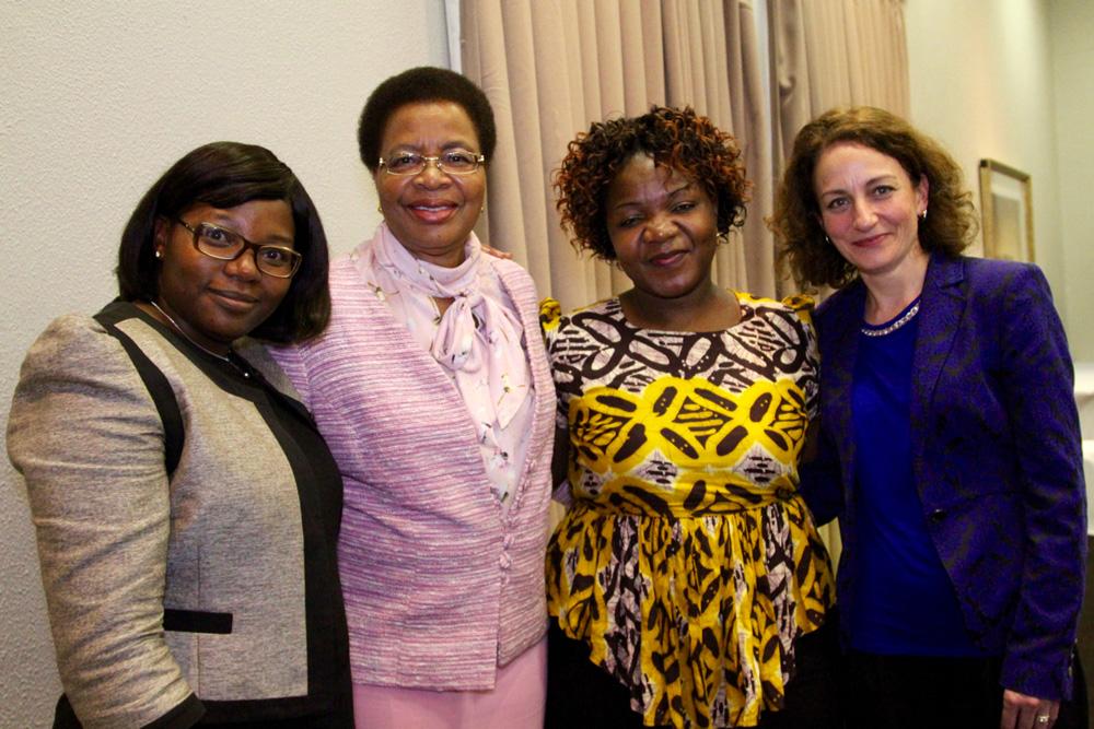 Fiona Mavhinga (founding member of CAMA), Graça Machel, Angeline Murimirwa (founding member of CAMA and now Camfed Regional Director) and CEO Lucy Lake