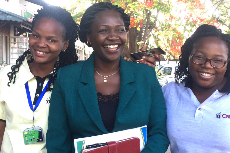 Hadija Mcheka from the Ministry of Education with CAMA Tanzania's soon-to-be first lawyer Lilian (left), and CAMA Zimbabwe's first lawyer Fiona (right)
