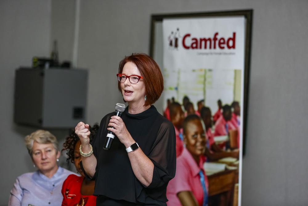 Julia Gillard speaking at Camfed's girls' education symposium in Johannesburg