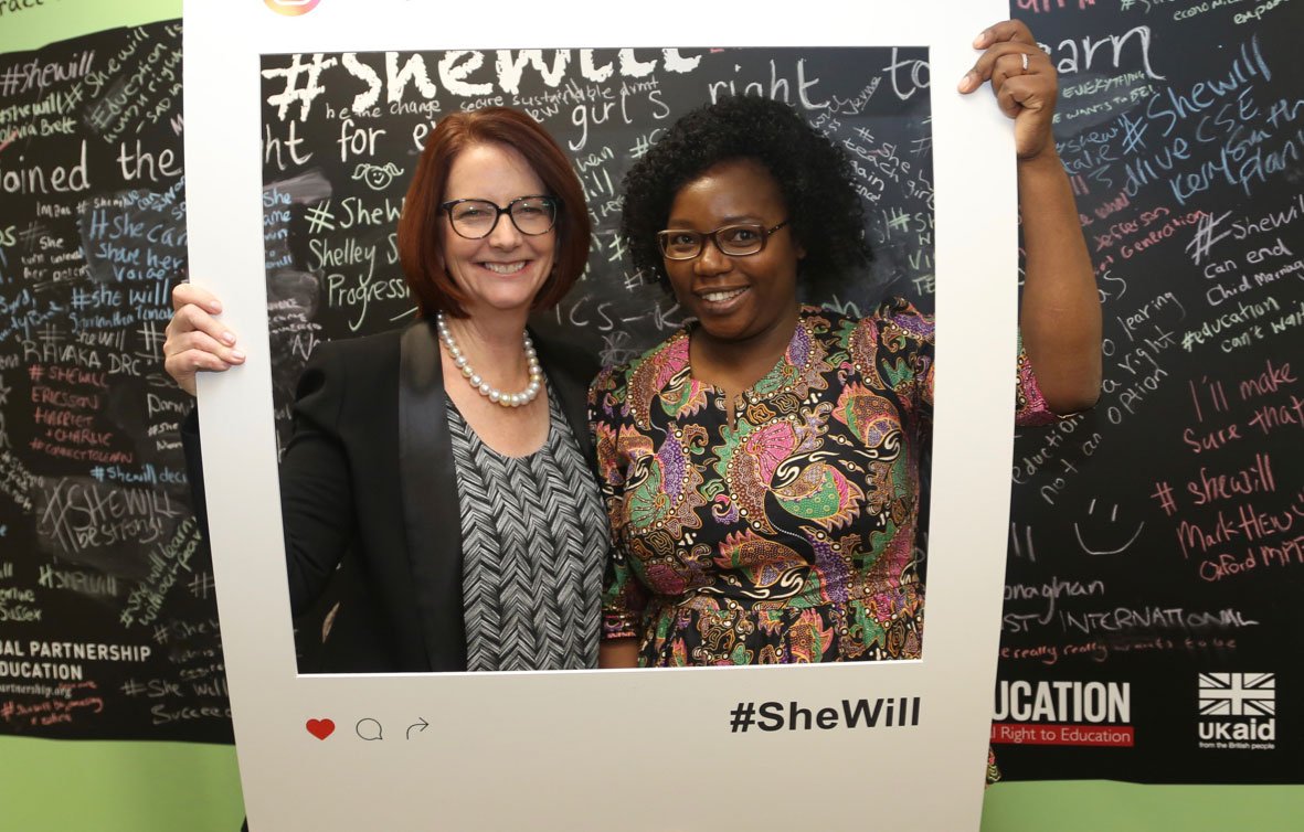 Julia Gillard with Fiona Mavhinga at the UK's Girls' Education Forum