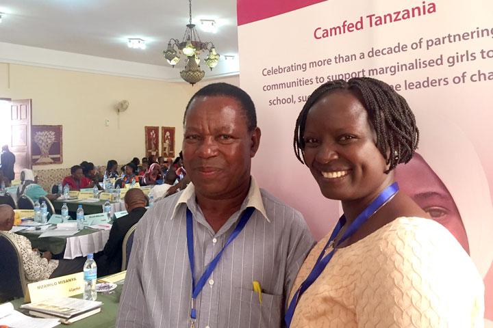 Lydia Wilbard of Camfed Tanzania with Mzamilo Misanya, Head of a partner school