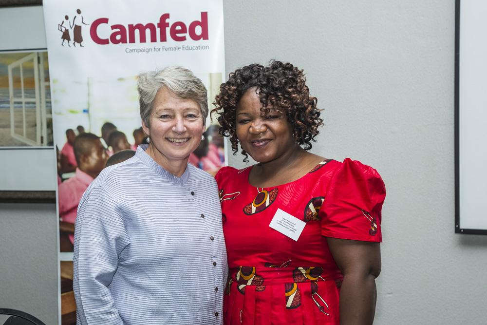 Miranda Curtis, Chair of the Board of Camfed International, with Camfed Regional Executive Director Angeline Murimirwa