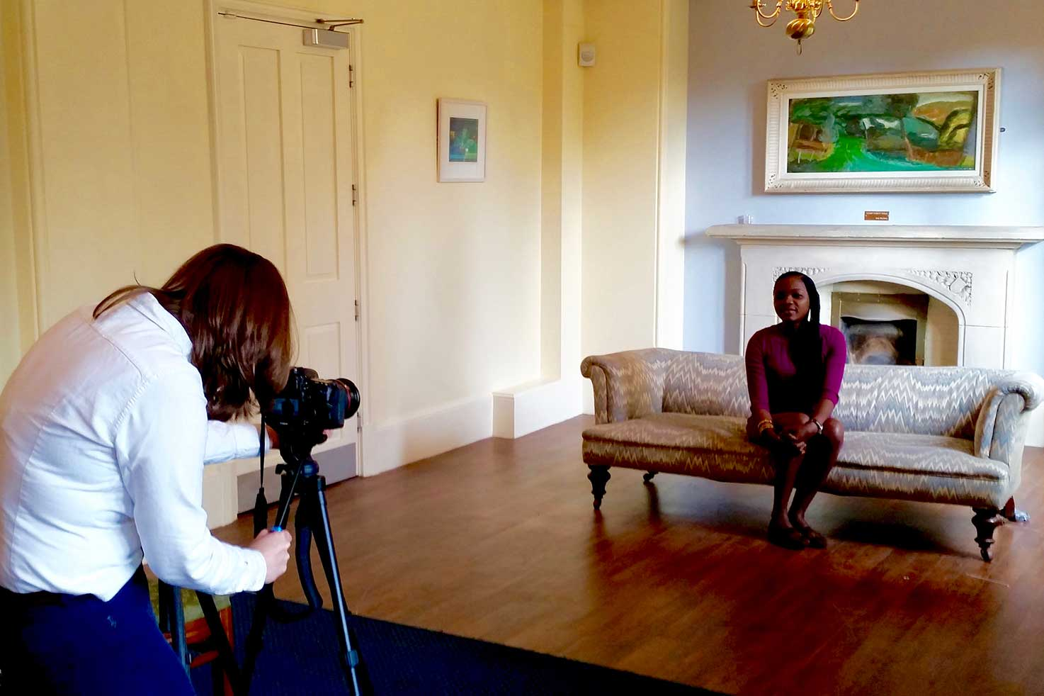 Nasikiwa Duke being interviewed in the UK