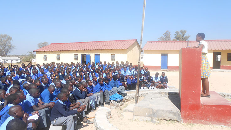 Natasha inspiring students at her former school in Buhera District, Zimbabwe