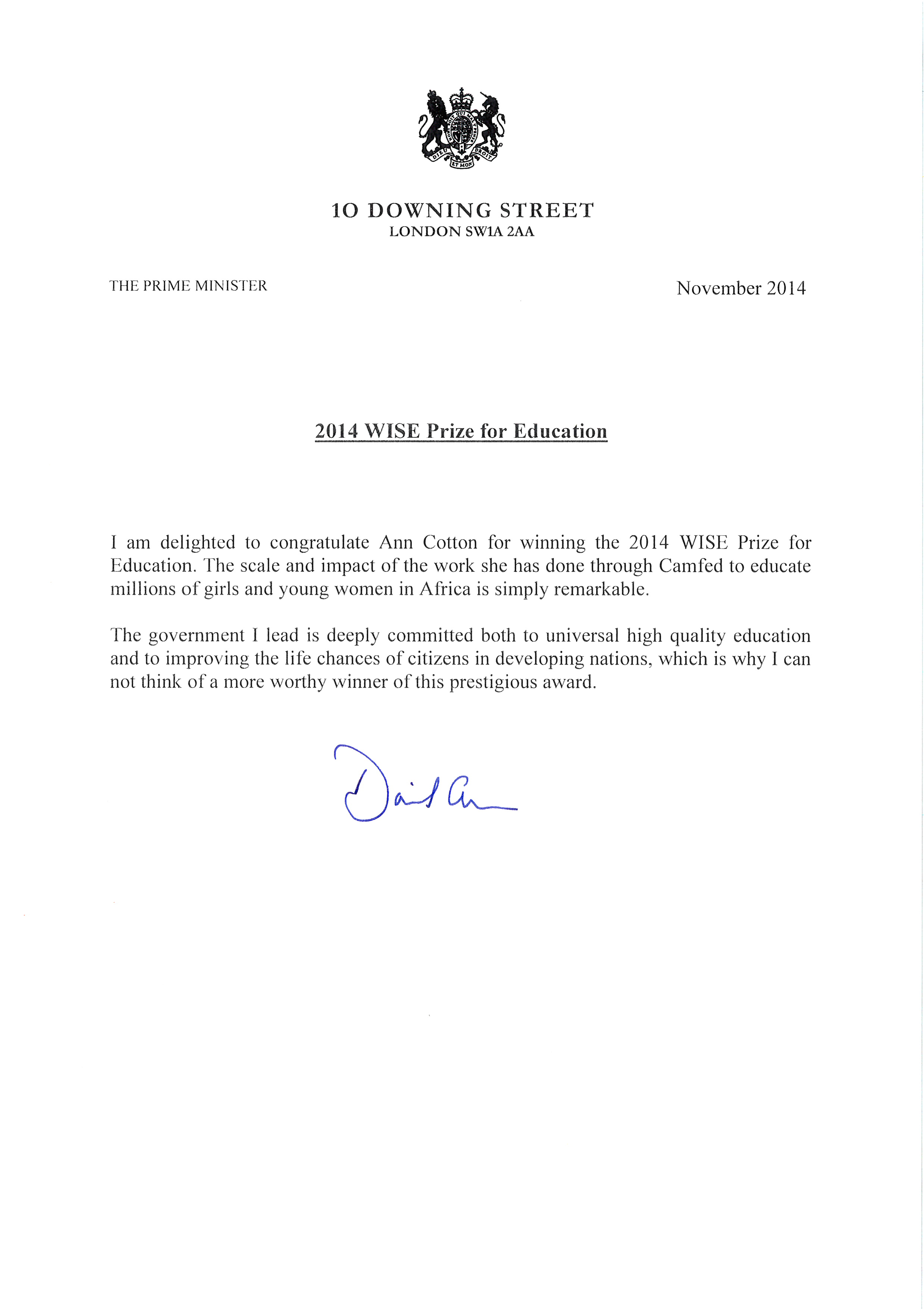 Prime Minister Cameron Congratulates Ann Cotton