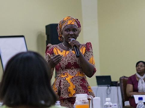 Ruka leading the CAMFED Association in Ghana