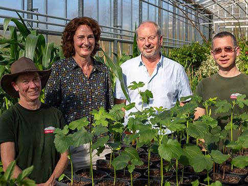 Garden designer Jilayne Rickards with the Eden Project growing team.