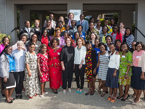 Lucy Lake with members of the CAMFED alumnae network
