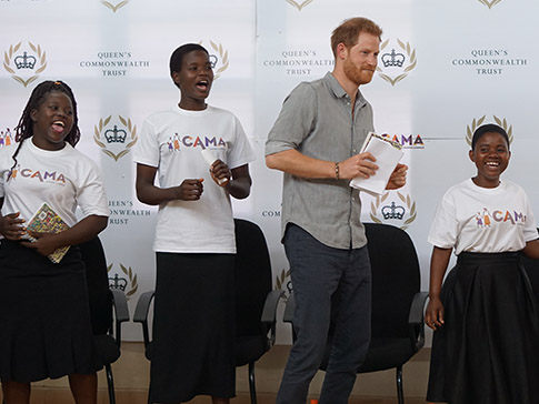 The Duke of Sussex dances with Fatima, Luwiza and Rose