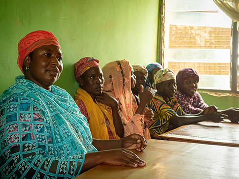 Salamatu (left) with Mother Support Group members
