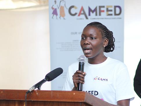 CAMFED Association leader Tisiyenji giving a speech