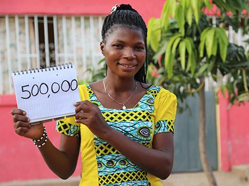 Dorcas aims to reach 500,000 women and girls through her community work.
