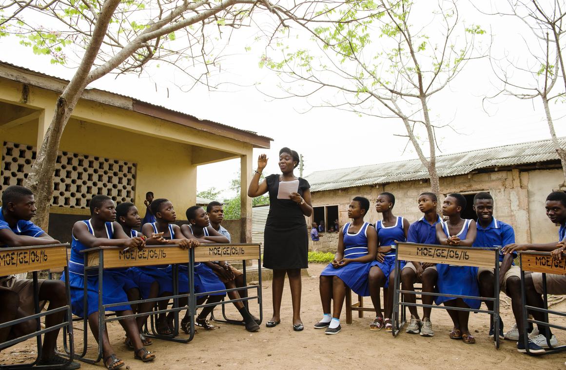 CAMFED alumna Francisca mentoring students in rural Ghana