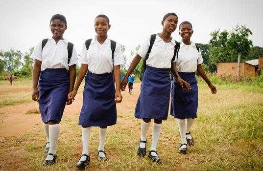 Students walk long distances to school
