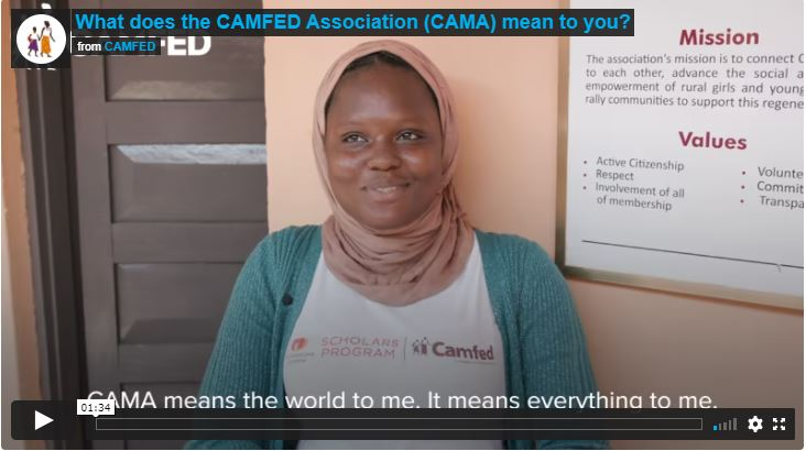 """Screenshot of the video """"What does the CAMFED Association Mean to you?"""""""
