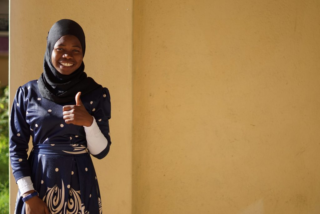 Enelesi Nsamila, a CAMA Tertiary Graduate working at MUST